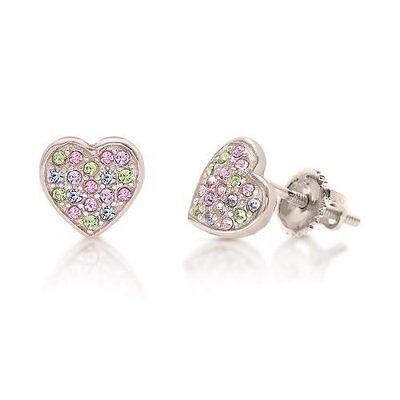 New 925 Sterling Silver White Gold Tone Heart Screwback Children's Earrings