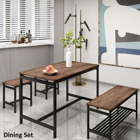 Nestfair Brown 4 Piece Rustic Dining Set with 2 Stools and Bench