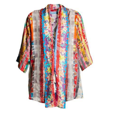 Johnny Was Womens Anastasia Multi Color Kimono Top Blouse Open Fit