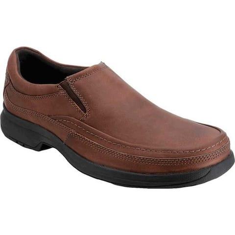 Rockport Men's Barrows Loft Moc Slip On Dark Tan Full Grain Leather