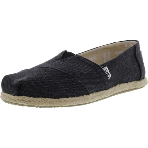 Toms Women's Classic Washed Canvas Rope Sole Slip-On Shoes