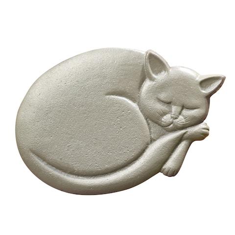 "Art & Artifact Cat Stepping Stone, Cast Iron Sleeping Cat, Grey Finish, 11"" x 8"" - Gray - 11 Inch x 8 Inch"