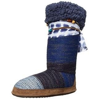 Muk Luks Womens Jordan Knit Fold-Over Mukluk Slippers - 5-6 medium (b,m)