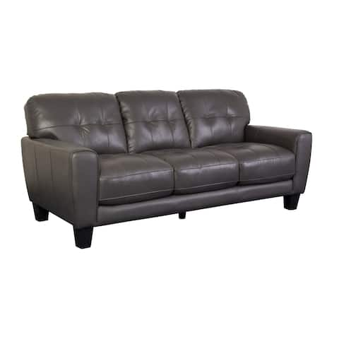 Porter Designs Penner Contemporary Button-Tufted Leather Sofa, Gray