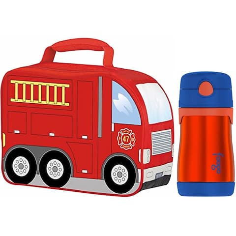 Thermos Firetruck Novelty Soft Lunch Kit with Insulated 10-Ounce Straw Bottle (Orange Blue)