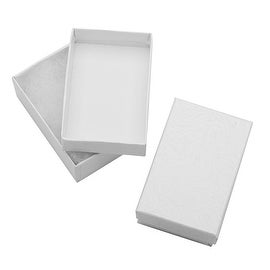 White Cardboard Jewelry Boxes With Swirls 2.5 x 1.5 x 1 Inches (16)