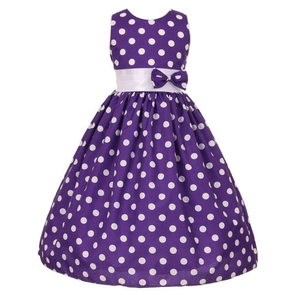 a5d38296c3d Little Girls Purple White Polka Dot Allover Bow Accented Easter Dress 2T-6
