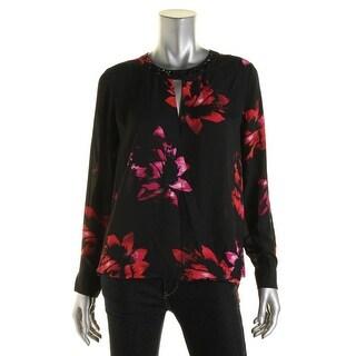 Vince Camuto Womens Blouse Floral Print Surplice