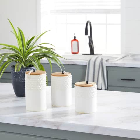 White Ceramic Country Cottage Decorative Jar (Set of 3) - 5 x 5 x 9