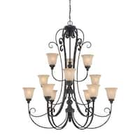 Craftmade 24212 Barrett Place Three Tier 12 Light Chandelier - 43.5 Inches Wide - mocha bronze