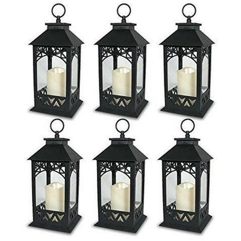 6 Decorative LED Lanterns with Pillar Candle
