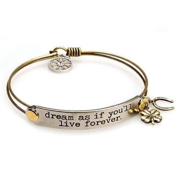 Women's Inspirational Message Brass Bracelet With Charms - Dream As If