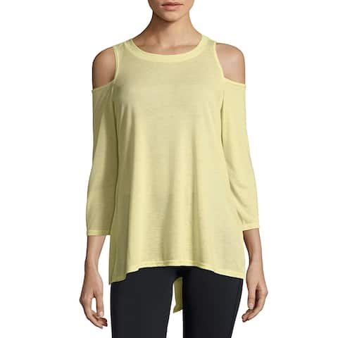 Calvin Klein Performance Split-Back Women's Cold-Shoulder Top Yellow Size XXL - XL