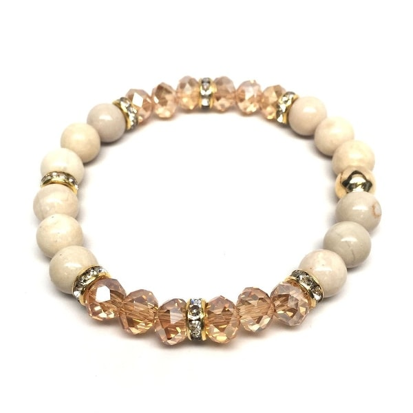 Ivory River Stone & Crystal 'Posh' stretch bracelet 14k Over Sterling Silver