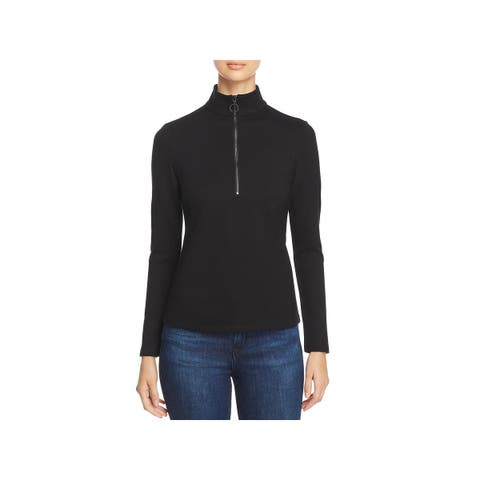 Kenneth Cole Womens Turtleneck Top Mock Neck O-Ring