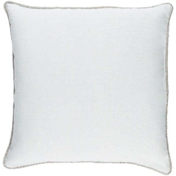 "20"" Ice Blue Elegant Rose Blossom Decorative Linen Plain Throw Pillow"