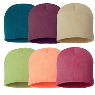 Winter Plain Special Color Beanie Knit Hat 6 pieces Set