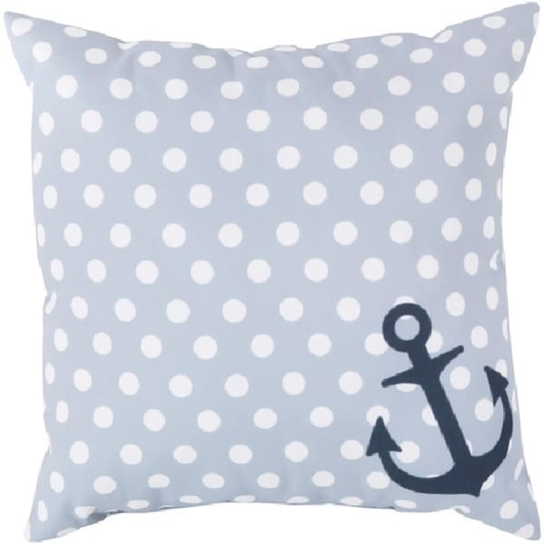 """18"""" Nautical Light Gray with White Polka Dots Indoor/Outdoor Decorative Throw Pillow"""