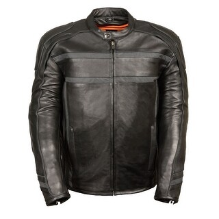 Mens Leather Scooter Jacket Reflective Band / Piping (More options available)