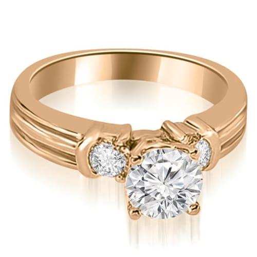 1.00 cttw. 14K Rose Gold Prong Set Round Cut Diamond Engagement Ring