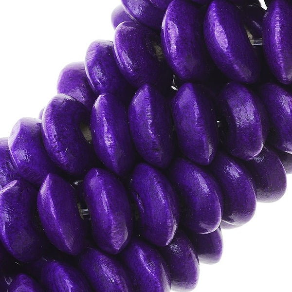Smooth Painted Maple Wood Beads, Rondelle 7.5-8mm, 16 Inch Strand, Dark Purple