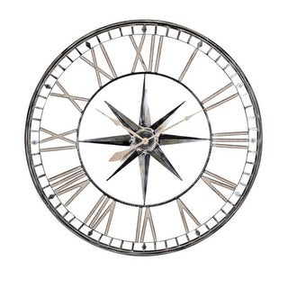 "43"" Black and White Antique Finish Roman Numerals Round Oversized Clock"