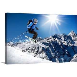 """""""Skier jumping on a slope"""" Canvas Wall Art"""