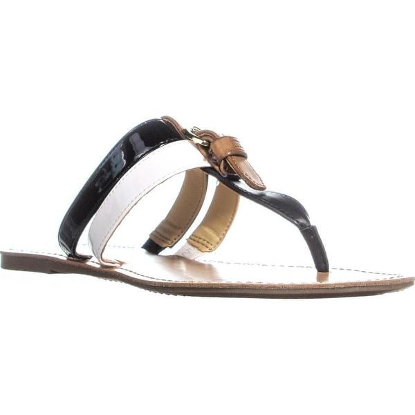 Shop Tommy Hilfiger Leona Flat Thong Sandals, Black Multi