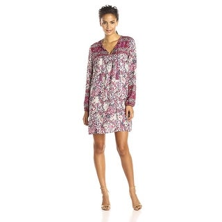 Lucky Brand Printed Peasant Day Shift Dress - XS
