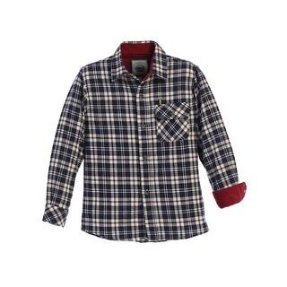 Gioberti Little Boys Navy Red Corduroy Contrast Flannel Plaid Shirt 4-7