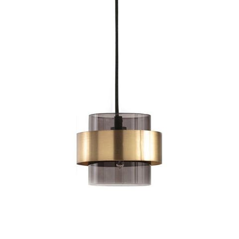 "Adele Smoky Gray Cylinder Pendant Light with Brass Metal Band - 7"" x 7"""