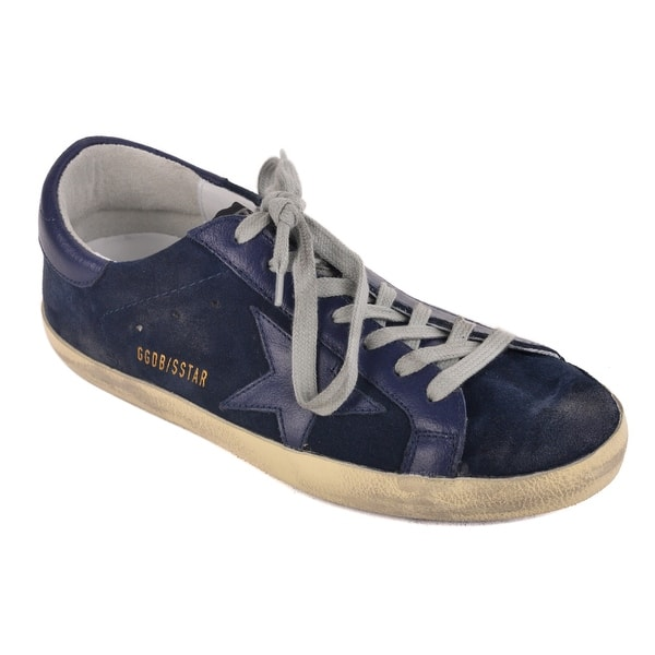 dcd88bbcd Shop Golden Goose Navy Suede Leather Superstar Sneakers - Free ...