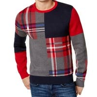 Tommy Hilfiger NEW Red Blue Mens Size 2XL Crewneck Plaid Sweater