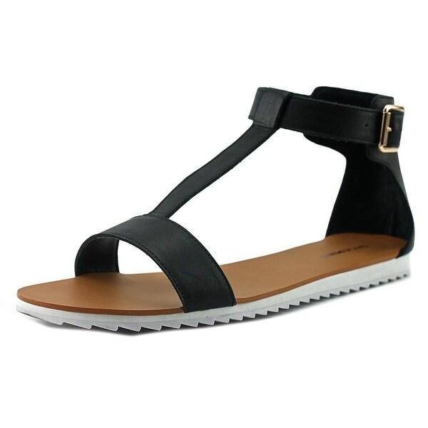 ShoeMint Mora Women Open Toe Leather Black Flip Flop Sandal
