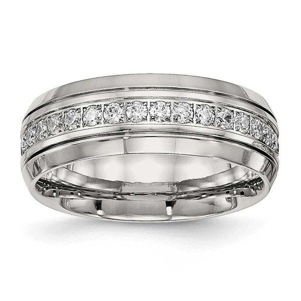 Stainless Steel Polished Half Round Grooved CZ Ring (8 mm) - Sizes 6 - 13