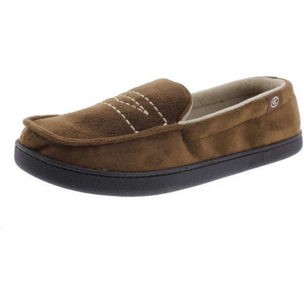Isotoner Mens Moccasin Slippers Microsuede Memory Foam
