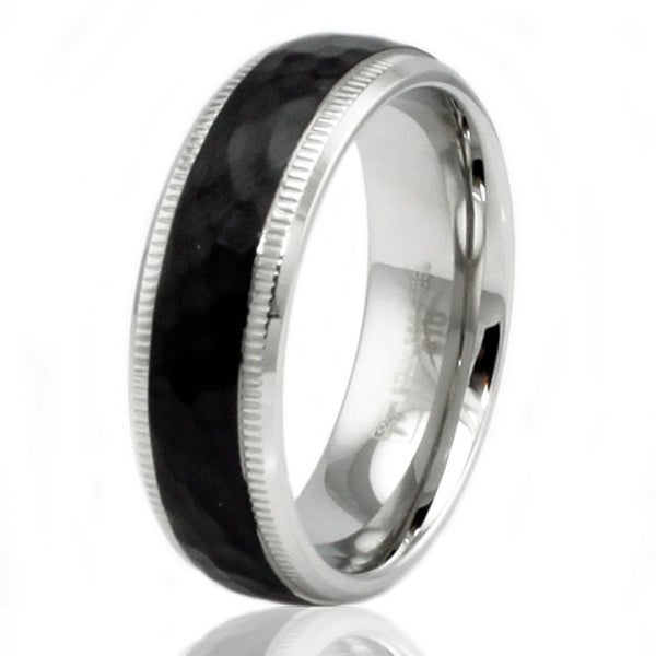 7mm Two-Tone Stainless Steel Hammered Style Wedding Band Ring