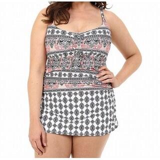 Becca White Women's Size 0X Plus Swimdress Paisley Swimwear