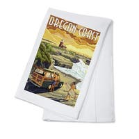 Oregon Coast - Woody and Lighthouse - LP Artwork (100% Cotton Towel Absorbent)