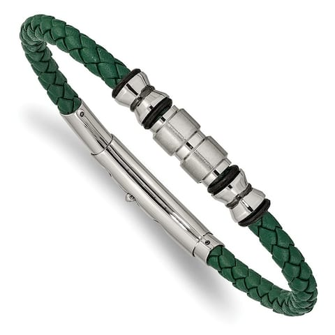 Chisel Stainless Steel Brushed, Polished Black IP-plated and Rubber Green Leather adjustable Bracelet