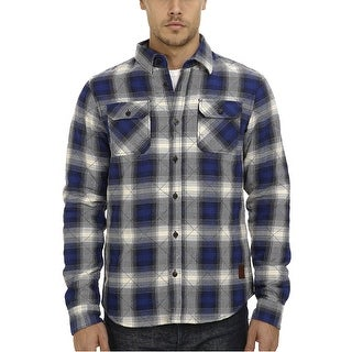 Scotch and Soda Quilted Extra Trim Fit Plaid Flannel Shirt Jacket Blue Large L