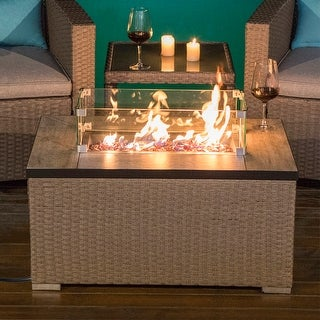 Link to COSIEST Outdoor Rectangle Wicker Propane Fire Pit, Glass Wind Guard,Tank Outside Similar Items in Fire Pits & Chimineas