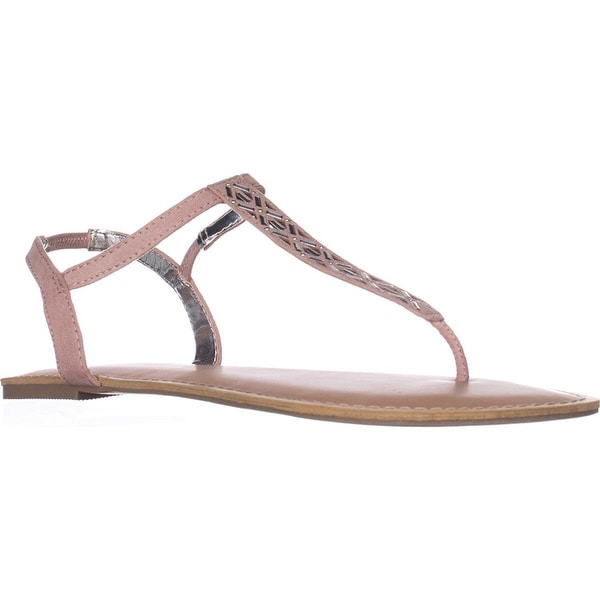 Material Girl Womens Skyler Leather Open Toe Casual T-Strap Sandals