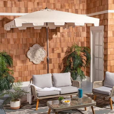 SAFAVIEH Outdoor Living Zimmerman 7.5 Ft Square Market Umbrella, Base Not Included