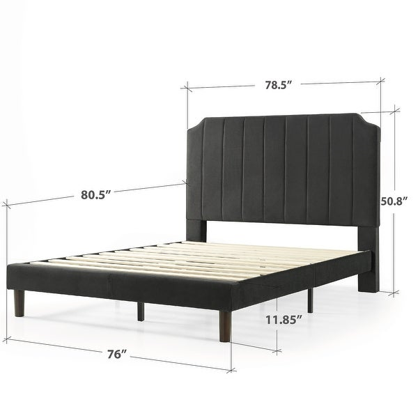 Priage by ZINUS slate black Upholstered Platform Bed Frame