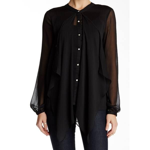 843e5d3b Shop Valette NEW Black Sheer Women's Size Large L Blouse Button Down ...