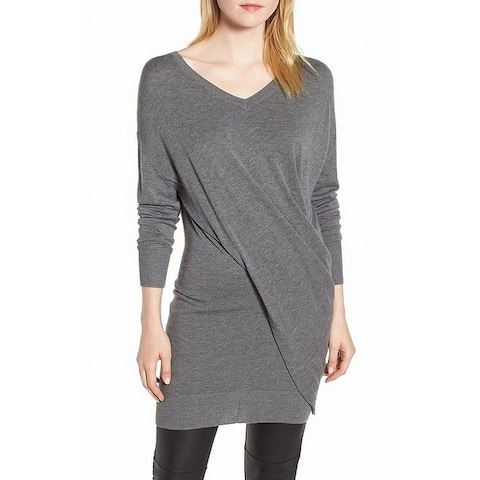 TROUVE Women's Gray Size Small S Crossover Tunic V-Neck Sweater