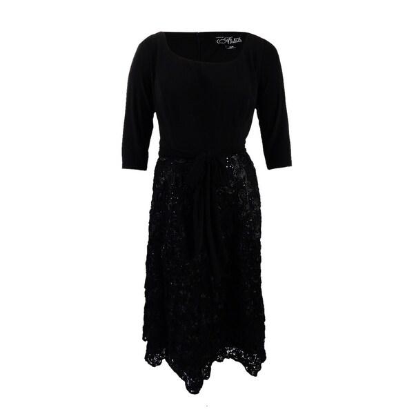 Shop Alex Evenings Women S Rosette Fit Amp Flare Gown 16