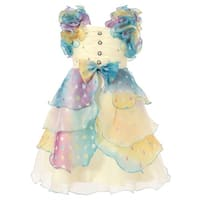 Richie House Girls' Dress with Pastel Ruffles and Pearls