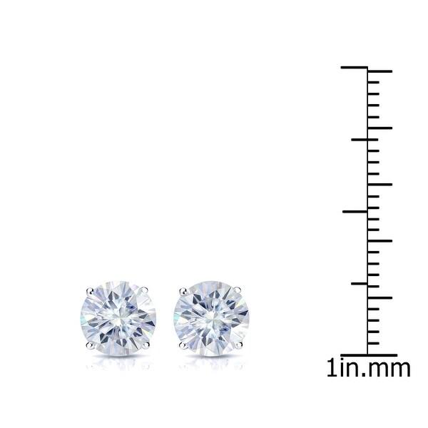 Auriya 2ct TW Round Moissanite Stud Earrings 14k Gold - 6.5 mm